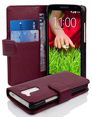 Cadorabo Hülle für LG G2 Mini - Hülle in Bordeaux LILA – Handyhülle mit Kartenfach aus struktriertem Kunstleder - Hülle Cover Schutzhülle Etui Tasche Book Klapp Style