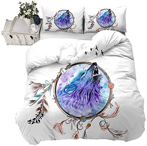 Yeesovs Duvet Cover Quilt Bedding Set -Purple Animal Wolf Dream Catcher Feather Pattern-Single (135 X 200 Cm) -With 2 Pillowcases 50*75Cm-Bedding3 Pcs With Zipper Closure Ultra Soft Hypoallergenic Mi