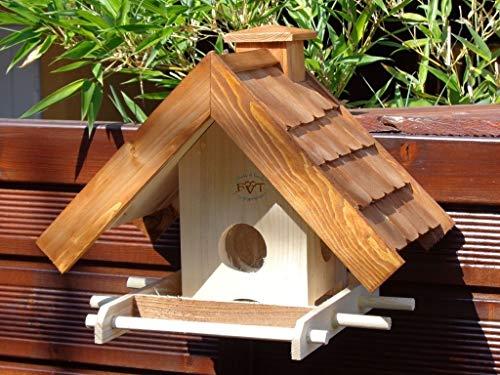 vogelhaus,mit Futterspender,K-BEL-VOWA3-dbraun002 Großes Vogelhäuschen + 5 SITZSTANGEN, FUTTERAUTOMAT + SICHTGLAS für Vorrat PREMIUM-Qualität,Vogelhaus,- ideal zur WANDBESTIGUNG – Futterhaus, Futterhäuschen WETTERFEST, QUALITÄTS-Standfuß-aus 100% Vollholz, Holz Futterhaus für Vögel, MIT FUTTERSCHACHT Futtervorrat, Vogelfutter-Station Farbe braun dunkelbraun schokobraun rustikal klassisch, Ausführung Naturholz MIT TIEFEM WETTERSCHUTZ-DACH für trockenes Futter - 2