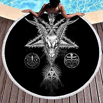 Traditional Tribal Goat Magic Star Eye of Providence Tattoo Print Microfiber Round Beach Towel with Tassels Hippie Round Fringe Beach Throw Throw Blanket White 59 inch