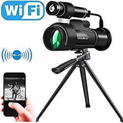 OsxoBear Night Vision Monocular with WiFi and APP Function,IR Night Vision Telescope with External Powerful Infrared Spotlight for Night Watching,Wildlife Observation