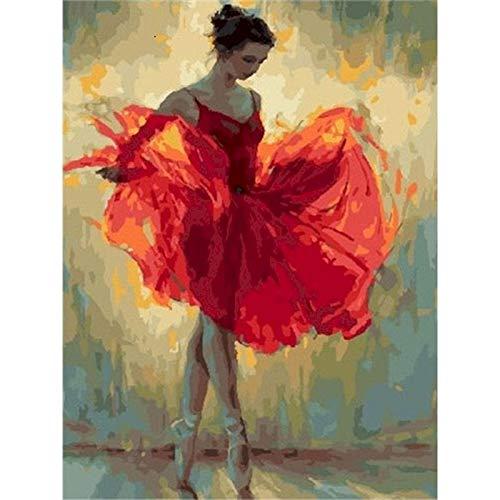 Pintura al óleo de bailarina de ballet por número en lienzo pintura acrílica para adultos dibujo de imagen para colorear por números decoración A6 45x60cm