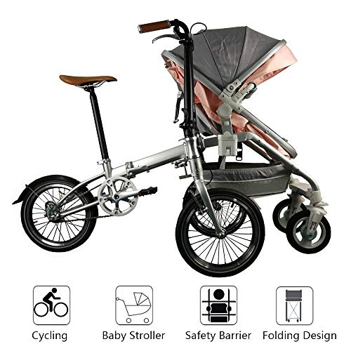 Baby Strollers Bike 2 in 1 Can Riding Pliage Tricycle Parent Landau Pliant Récréatif Parent-Enfant Pliant Vélo Pédicab pour Vélos Mère Et Bébé Parent-Enfant,Pink