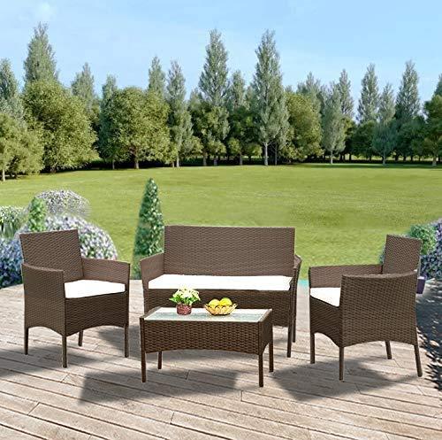 Conjunto de mesa de cristal 3 sillas modernas de vid de PVC - impermeable - ultravioleta,Brown