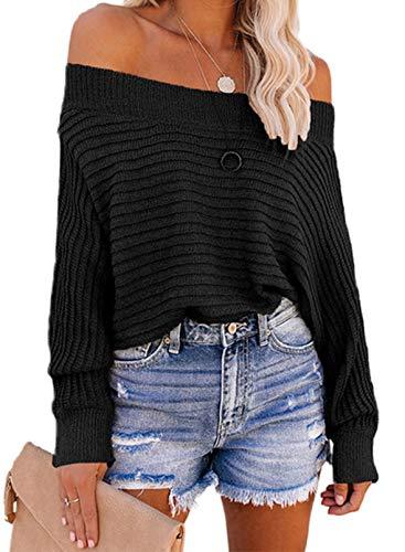 LOSRLY - Sudadera de manga larga para mujer, color sólido, con un solo hombro, para mujer