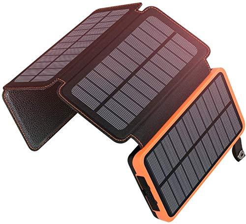 Cargador Solar Banco De Energía Solar Portátil De 20000 Mah Con Salidas Dobles De 2.1 A Paquete De Batería Externa Para Exteriores Compatible Con La Mayoría De Teléfonos Inteligentes, Tabletas Y Más