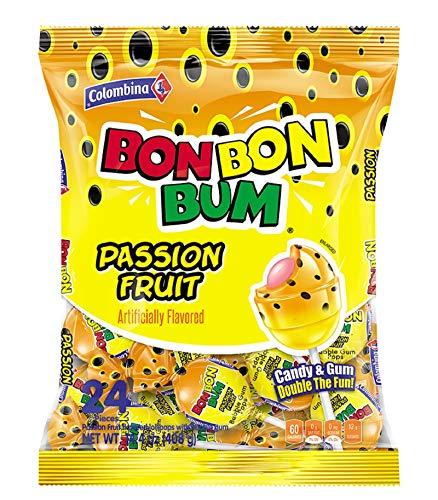 Colombina Bon Bon Bum Passion Fruit / Maracuya flavored, Bubble Gum Lollipops (1 Pack of 24 Bubble Gum Pops)