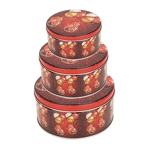 Herefun Keksdose Weihnachten, Plätzchen Dose, Plätzchendosen, Keksdose Metall Schnee Sterne Weihnachten Cookie Box (D)