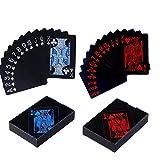 MINGZE 2 Piezas de Tarjetas de póquer a Prueba de Agua, Jugando a Las Cartas con plástico Flexible de PVC, Cartas de Truco clásico, niños y Adultos, tamaño estándar, Juegos de Azar de Casino
