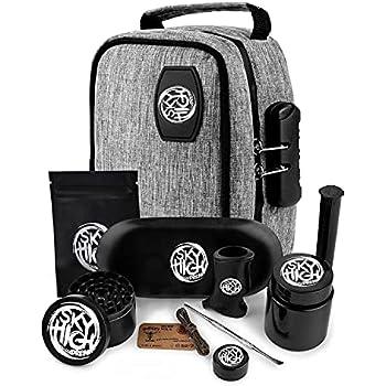 Stash Case Sky High Dream Stash Pouch -Lock, Grinder, Silicone Jar, Double-Ended Pick, Storage Tube, Tray, Lighter Holder, Wick, Bat Cigarette Holder, Ziplock Bag