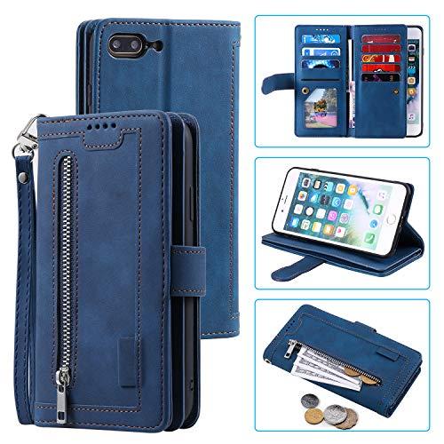 UEEBAI Hülle für iPhone 7 Plus iPhone 8 Plus, Vintage Reißverschluss Handyhülle PU Leder Handytasche Silikon Bumper mit 9 Kartenfächer Standfunktion Geldbörse Trageband Schutzhülle Flip Case - Blau