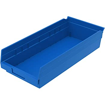 Akro-Mils 30158 Plastic Nesting Shelf Bin Box, (18-Inch x 8-Inch x 4-Inch), Blue, (12-Pack)