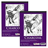 US Art Supply 9 in. x 12 in. Premium Heavy-Weight Charcoal Paper Pad, 160gsm, 90 Pound, 32 Sheets (Pack of 2)