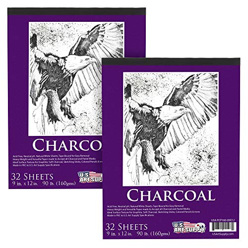 US Art Supply 9 in. x 12 in. Premium Heavy-Weight Charcoal Paper Pad