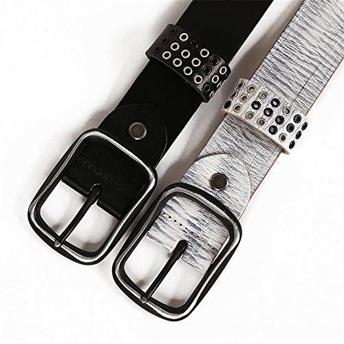 MICEROSHE Cómodo Cinturón Punk Cinturón de Cuero de Mujer Cinturón Unisex Punk Cinturón y Accesorios de Remache Huecos Cinturón Pin Hebilla Hombres (Color : Blanco, Size : 105cm)
