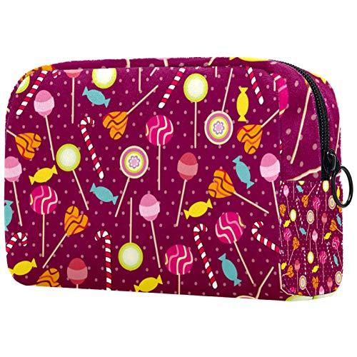 Kosmetische Reisetasche, Schminktasche, Schminktasche, Geburtstagsgeschenk, Jubiläumsgeschenk - Lollipop Pattern Cartoon