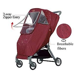 GOOVI Rain Cover Universal Size Elastic Band Full-Protection Nano Coating Waterproof Windproof Stroller Weather Shield-Red