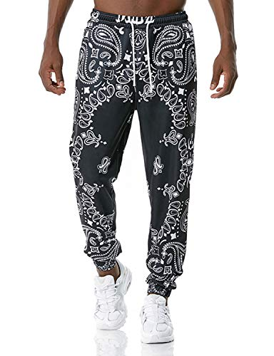 PIZOFF Herren Hip Hop 3D Bandana Print Jogginghose Paisley Sporthose Jogger Hosen Farbe 02010442 Bunt-15 M