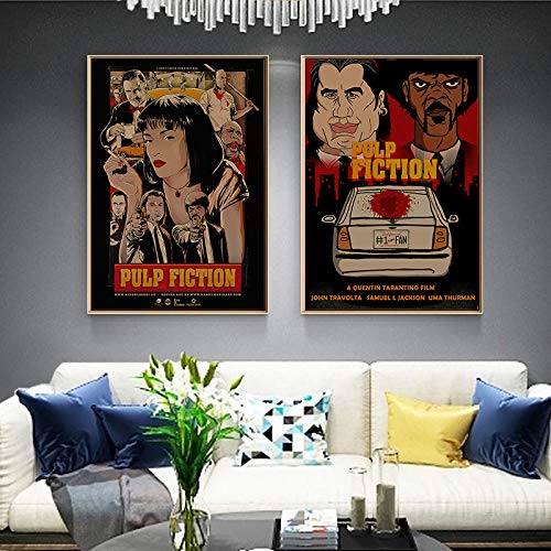 QZROOM Pulp Fiction Klassische Filmplakate Vintage Art Leinwandbilder Drucken Wandkunst Bild Für Wohnkultur -50x70cmx2 Kein Rahmen