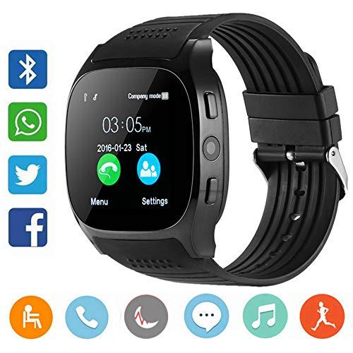 CanMixs Smart Watch CF02 Supporto SIM TF Card orologio da polso con fotocamera contapassi monitor sonno Message Sync Notifier lettore musicale Sedentary per Android Samsung Huawei HTC ZTE (nero)