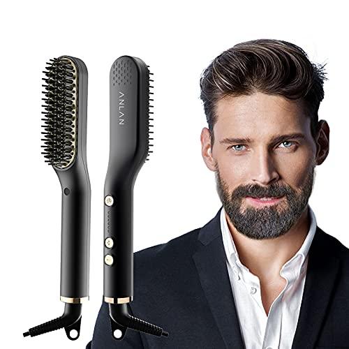 ANLAN Nuevo Cepillo Alisador de Barba con 5 Niveles de Temperatura, Cepillo...