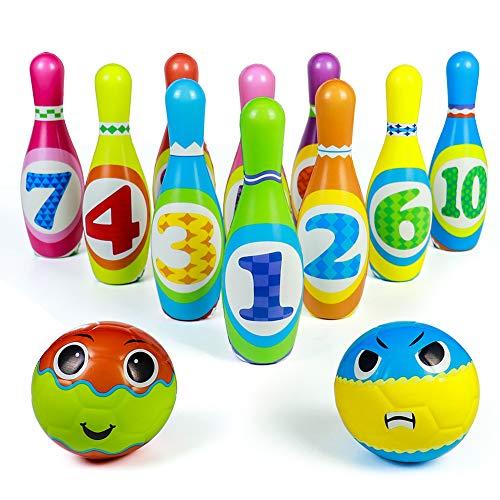 Akokie Bowling Ball Set Spielzeug für draußen Outdoor und Innen Spiele Kegelspiel für Kinder Junge mädchen Geschenke 3 4 5 6 Jahre