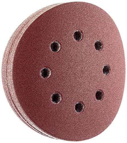 Wolfcraft 2251100 2251100-25 muelas de Lija Adhesivas, corindón Grano 120, Perforadas, 125mm, Set de 25 Piezas