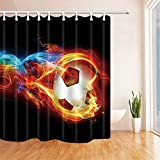 oooooo Kreative Bunte Fußball Duschvorhang Badezimmer wasserdichtes Gewebe 12hooks
