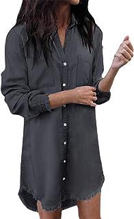 ShallGood Vestito da Camicia Jeans Maglia Maglietta Bordo Vestito Abito da Donna Eleganti Estivi Corti Manica Lunga Casual...