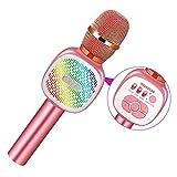 Microfono Inalámbrico Karaoke, SGODDE Micrófono Karaoke Bluetooth Portátil, Microfono Altavoz KTV con Luces LED de Baile, para Adultos y Niños,para Regalo / KTV / Fiesta,para Android / IOS / PC (Rosa)