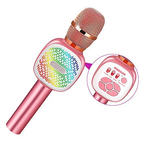 Microfono Inalámbrico Karaoke, SGODDE Micrófono Karaoke Bluetooth Portátil, Microfono Altavoz KTV con Luces LED de Baile, para Adultos y Niños,para Regalo/KTV/Fiesta,para Android/IOS/PC (Rosa)