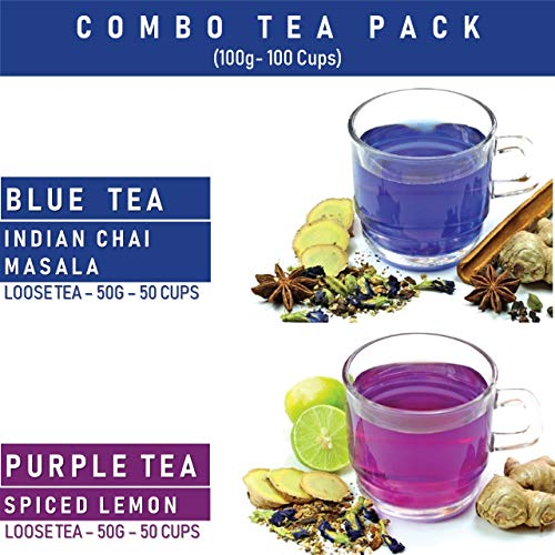 BLUE TEA - Combo Pack- Blue Tea & Purple Tea - Loose Tea- 100 Tea Cups | 100g Pack (2x50g))