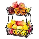 Soporte De Exhibición De Canasta De Frutas De 2 Niveles, Almacenamiento De Mostrador De Pan De Frutas Vegetales para Cocina, Baño, Rectangular, Metal Antiguo