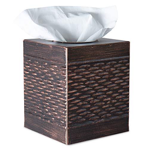 DELBRIO Square Tissue Box Cover - Galvanized Metal with Decorative Basket Weave Pattern - Oiled Rubbed Bronze - Rustic Farmhouse - Cube Tissue Box Holder - Warm Farmhouse Accent