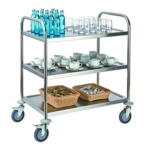 Tablecraft Servierwagen, Rollwagen, Küchenwagen, 3 Ablageflächen, 82 x 50 cm, 3-Etagen max. 150 kg Belastbarkeit, 4 fixierbare, leichtgängige Rollen, Edelstahl, Silber