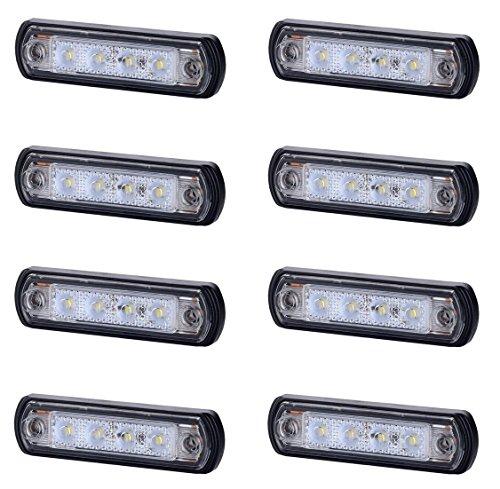 8 x 4 SMD LED Weiß Begrenzungsleuchte Seitenleuchte 12V 24V mit E-Prüfzeichen Positionsleuchte Auto LKW PKW KFZ Lampe Leuchte Licht Front Universal