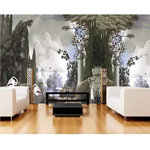 Finloveg Tapete Wandbild Retro-Handgemalte Regenwald Hölzer Europäischen Kolonial Wandbilder Wohnkultur Tv Hintergrund 3D Tapete-350X250Cm
