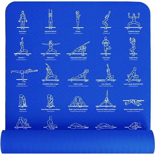 Plyopic Tryckt yogamatta | miljövänlig, halkfri matta med bärrem. 6 mm tjock. Perfekt för yoga,...