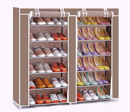 Vinsani - Estantería organizadora para zapatos, 2 unidades, 6 niveles, lona, 36 pares, color marrón