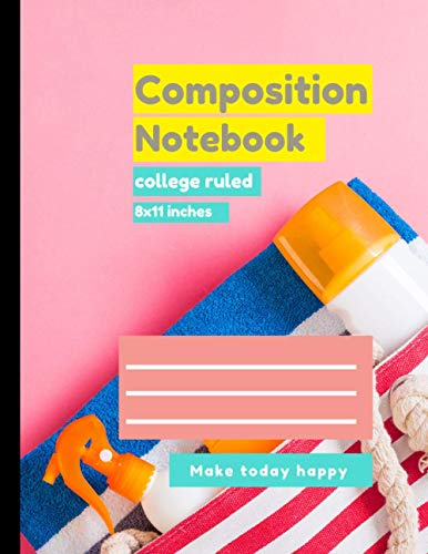 Composition college ruled notebook Summer Bag and Slippers Background cover, college ruled notebook 100 pages – Large (8.5 x 11 inches)