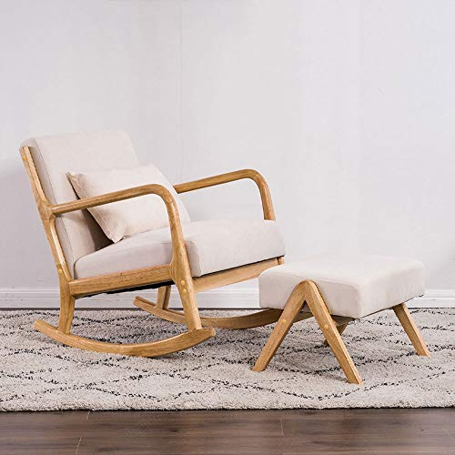 Schommelstoel, tuinstoel, tuinligstoel van massief hout, Nordic, vrijetijdssofa, slaapkamer, comfortabel, schommelstoel Beige Chair+stool