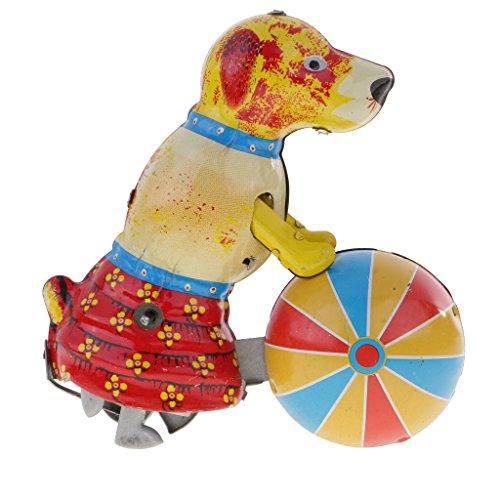 Amagogo Juguete de Hojalata Nostalgia - Perro Empuja Modelo de Pelota - Juguete de Cuerda con