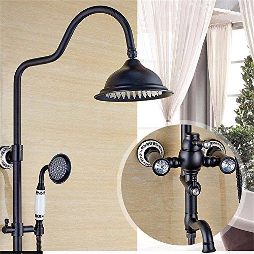 Set da bagno stile vintage in rame nero con rubinetteria e doccia calda