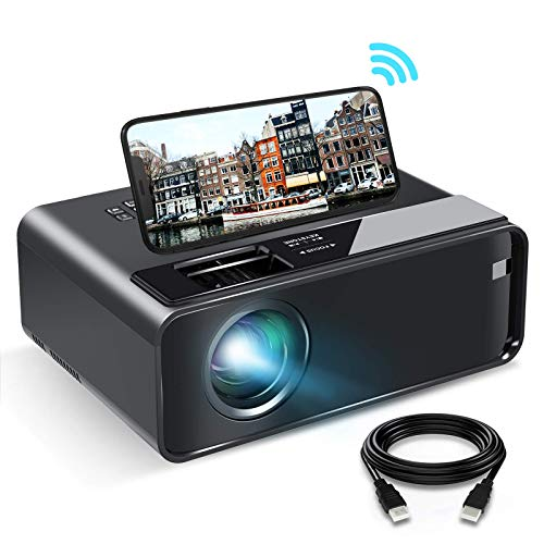 WiFi Projector, ELEPHAS 2020 WiFi Mini Projector with Synchronize Smartphone Screen, 1080P HD Portable Projector with 6000 Lux and 200' Display, Compatible with Android/iOS (Black)