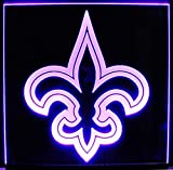 ValleyDesignsND Fleur de Lis Flower Logo Business Company Logo Acrylic Lighted Edge Lit Sign Light Up Plaque 15 Led 12' Black Mirror Base Full Size Made in The USA