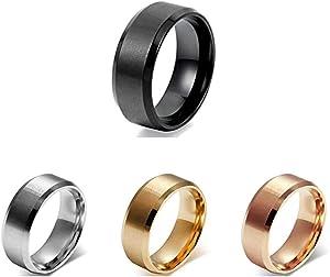 Flongo 8mm Anello Acciaio Inossidabile Lucidato, Anello Uomo Rotondo Liscio Colore Argento/Oro/RosaOro/Nero,Misura da Scelta, Regalo