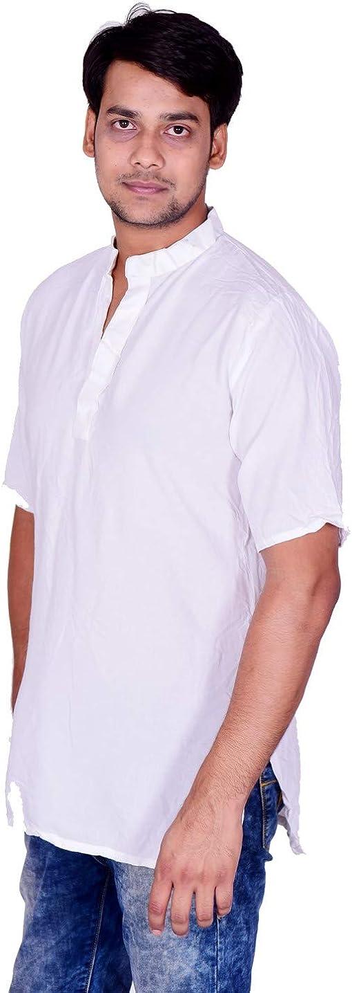 Lakkar Haveli Men's Indian Tank Top Camis Shirt Kurta Solid White Color Tunic 100% Cotton Short Sleeve Big Tall