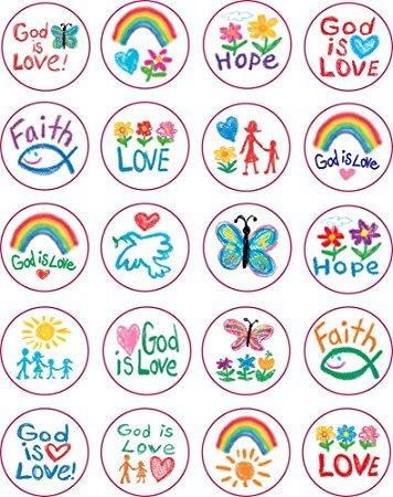 Carson Dellosa 5239 Kid Drawn Christian Faith Circle Shape Stickers, 240 stickers (2pk of 120 each)