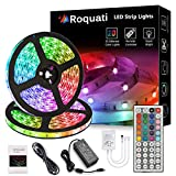 【LED Strip Lights】: This light strip kit included 2 rolls of 5050 RGB LED strip light.Total 10meters of 300leds ,one 44 key IR remote controller and12V 5A power adapter(US Plug). The tape light is Waterproof-IP65(please noted that only the strip ligh...