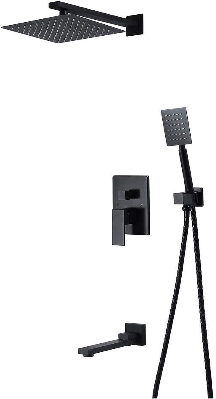 XSGDMN Regenduschsystem zur Wandmontage, Unterputz-Duscharmatur mit 10-Zoll-Regenduschkopf aus Edelstahl und Messingauslauf, schwarz